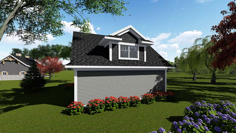 Cottage, Country, Craftsman 2 Car Garage Plan 75251 Rear Elevation