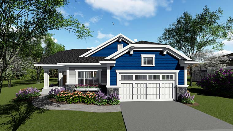 Cottage Country Craftsman House Plan 75257 Elevation