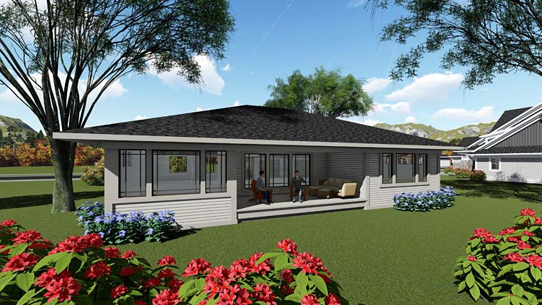 Contemporary Ranch Southwest House Plan 75258 Rear Elevation