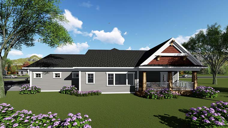 Cottage Country Craftsman House Plan 75259 Rear Elevation