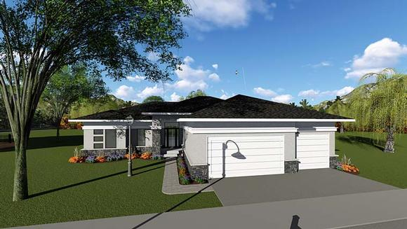 Contemporary, Ranch, Southwest House Plan 75264 with 3 Beds, 3 Baths, 3 Car Garage Elevation