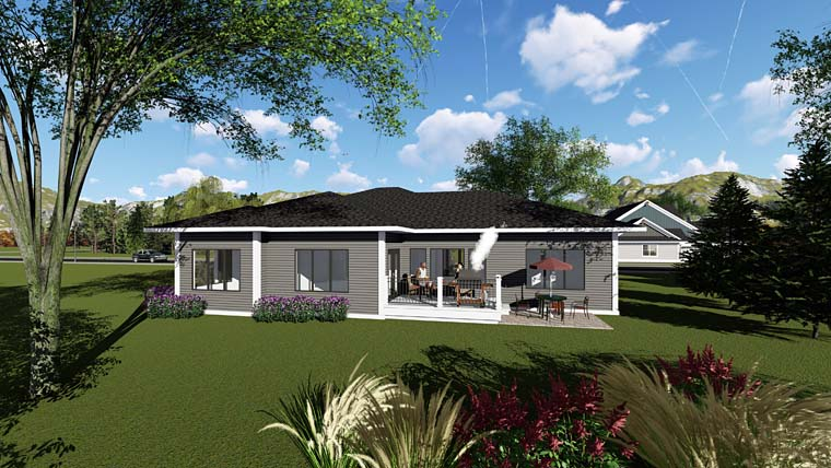 Contemporary, Ranch, Southwest House Plan 75264 with 3 Beds, 3 Baths, 3 Car Garage Rear Elevation