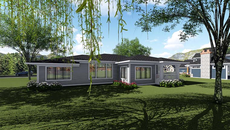 Contemporary Ranch Southwest House Plan 75265 Rear Elevation