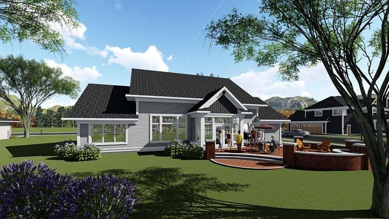 Cottage Craftsman Southern House Plan 75266 Rear Elevation