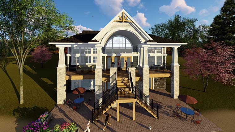 Cottage Country Craftsman Southern House Plan 75276 Rear Elevation