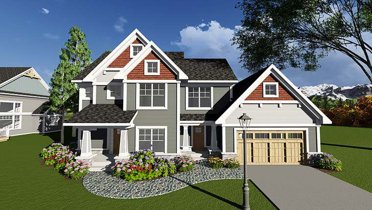 Country Craftsman Farmhouse Traditional House Plan 75293 Elevation