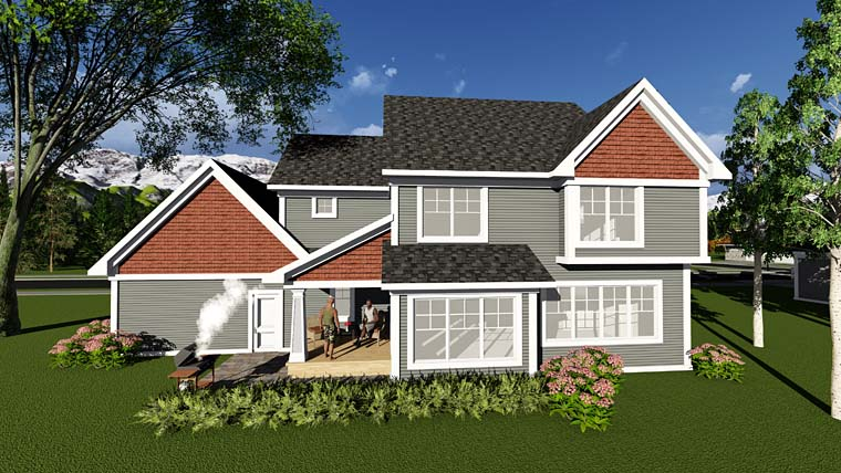 Country Craftsman Farmhouse Traditional House Plan 75293 Rear Elevation