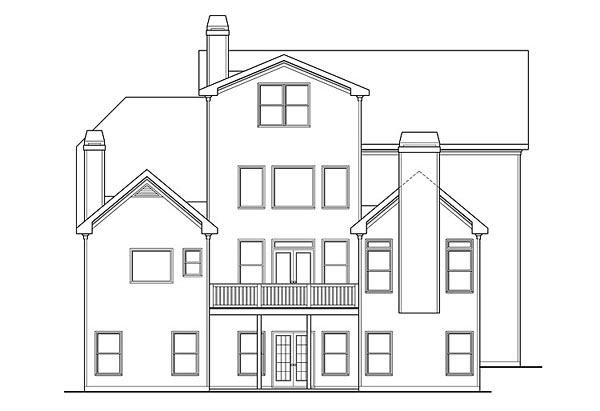 Craftsman, Traditional House Plan 75308 with 5 Beds, 6 Baths, 3 Car Garage Rear Elevation