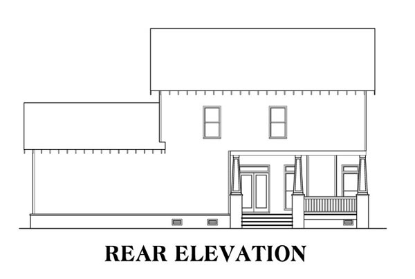 Bungalow, Country, Craftsman House Plan 75315 with 4 Beds, 3 Baths, 3 Car Garage Rear Elevation