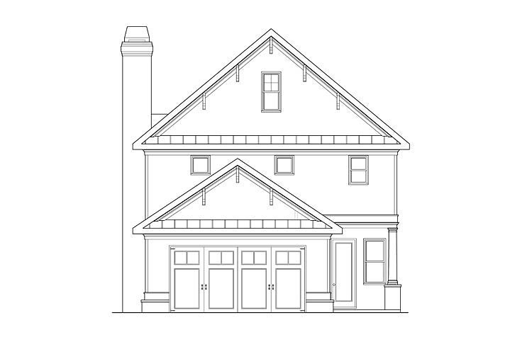 Coastal Colonial Craftsman Southern House Plan 75322 Rear Elevation