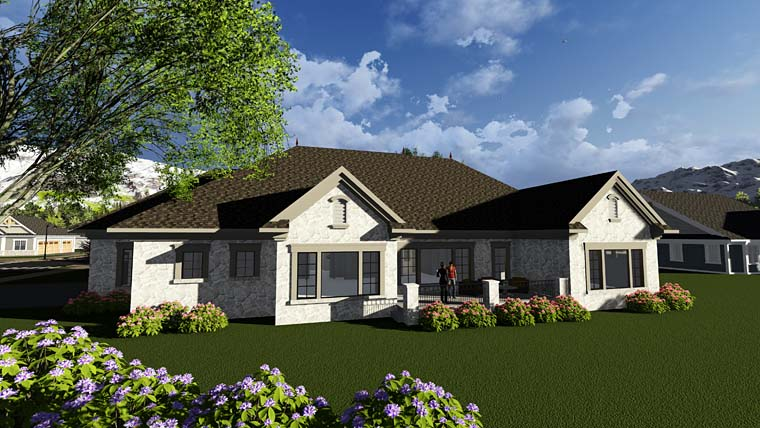 Cottage European Traditional House Plan 75402 Rear Elevation