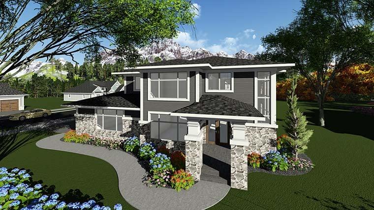 Contemporary Prairie Style Southwest House Plan 75404 Elevation