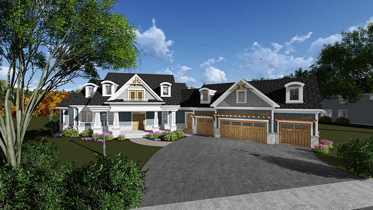 Bungalow, Cottage, Craftsman, Traditional House Plan 75408 with 4 Beds, 5 Baths, 4 Car Garage Elevation