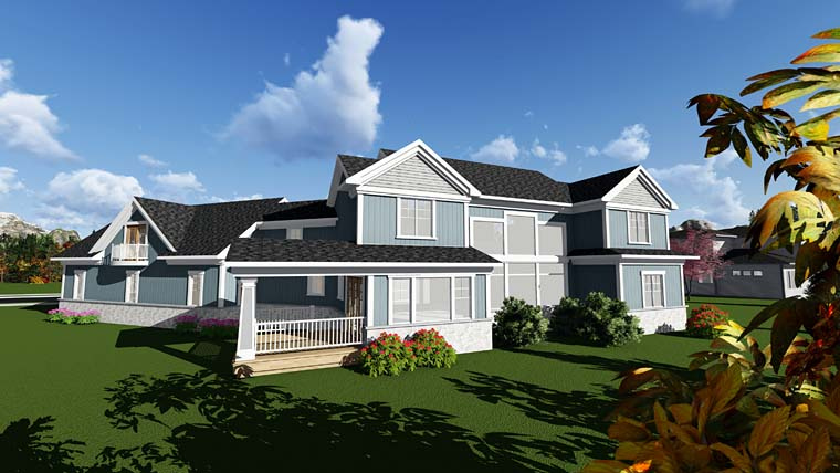 Bungalow, Cottage, Craftsman, Traditional House Plan 75408 with 4 Beds, 5 Baths, 4 Car Garage Rear Elevation