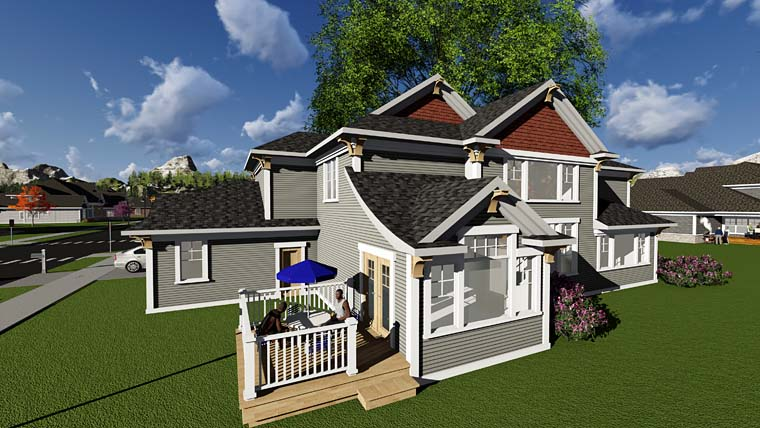 Craftsman Traditional House Plan 75411 Rear Elevation