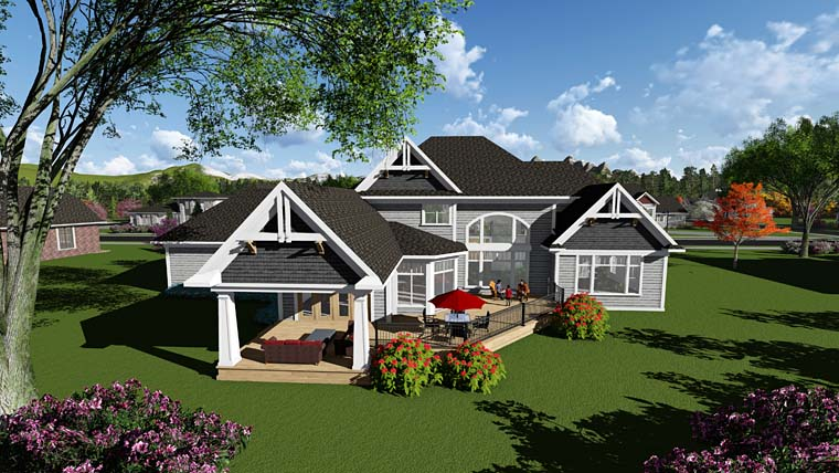 Craftsman Traditional House Plan 75417 Rear Elevation