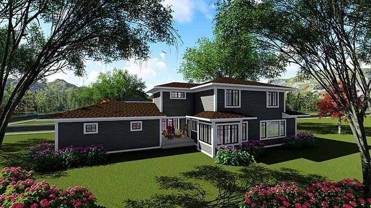 Contemporary Prairie Style Southwest House Plan 75418 Rear Elevation