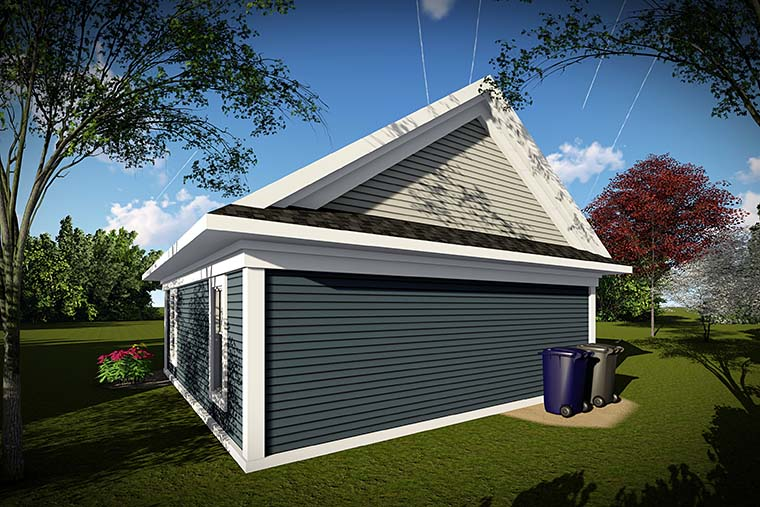 Traditional 2 Car Garage Plan 75420 Rear Elevation