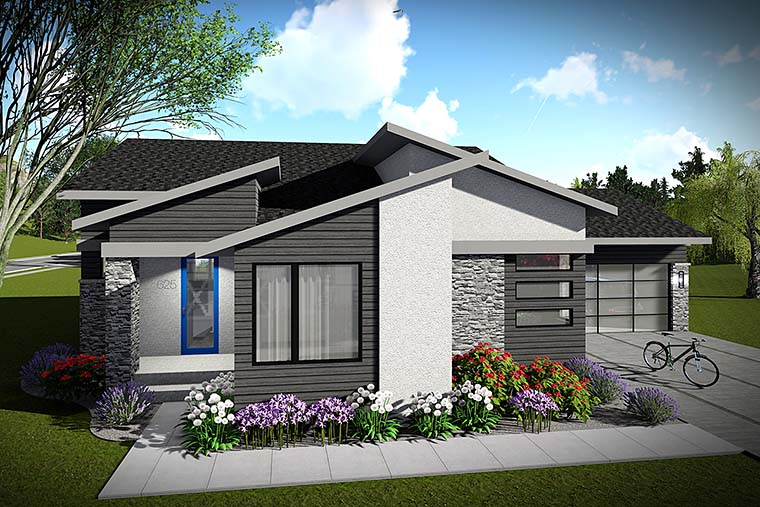 Contemporary, Modern, Ranch House Plan 75423 with 2 Beds, 2 Baths, 2 Car Garage Elevation