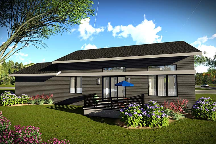 Contemporary, Modern, Ranch House Plan 75423 with 2 Beds, 2 Baths, 2 Car Garage Rear Elevation