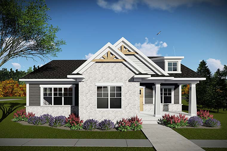 Craftsman Style House Plan 75430 with 2 Bed, 2 Bath, 2 Car Garage