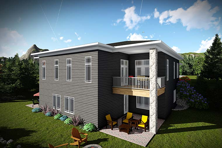 Modern Multi-Family Plan 75445 with 6 Beds, 6 Baths, 4 Car Garage Rear Elevation