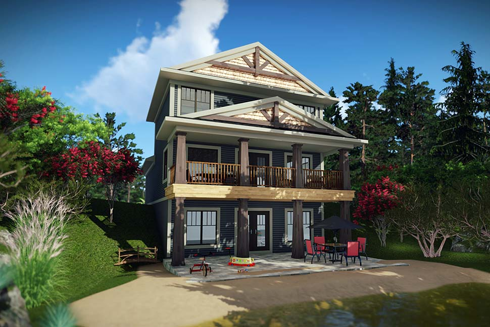 Traditional House Plan 75453 with 3 Beds, 4 Baths, 2 Car Garage Rear Elevation