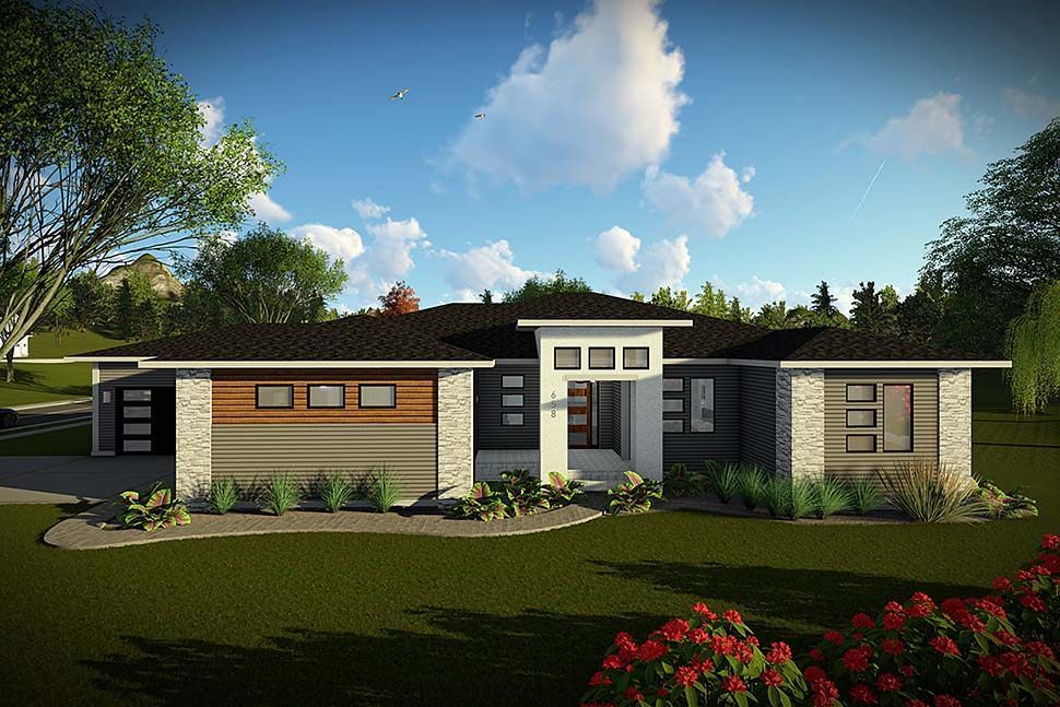 Modern, Ranch, Tuscan House Plan 75461 with 3 Beds, 3 Baths, 4 Car Garage Elevation