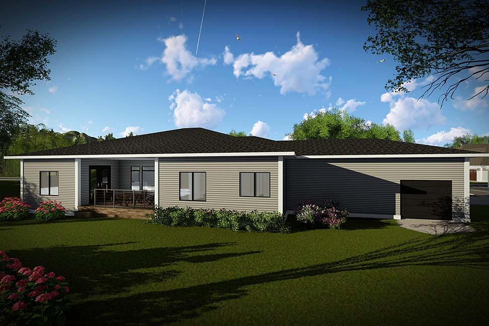 Modern, Ranch, Tuscan House Plan 75461 with 3 Beds, 3 Baths, 4 Car Garage Rear Elevation