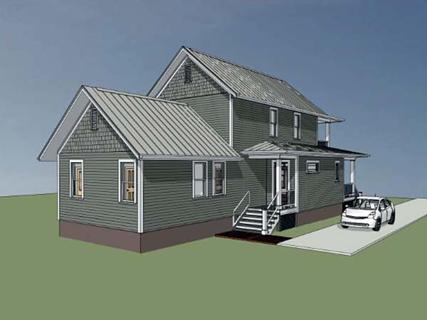 Colonial, Southern House Plan 75500 with 3 Beds, 3 Baths Rear Elevation