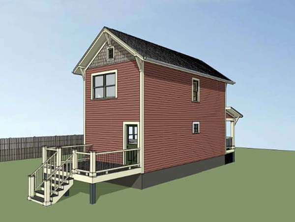 Colonial, Southern House Plan 75513 with 2 Beds, 2 Baths Rear Elevation