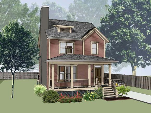 Colonial, Country, Southern House Plan 75541 with 3 Beds, 3 Baths Elevation