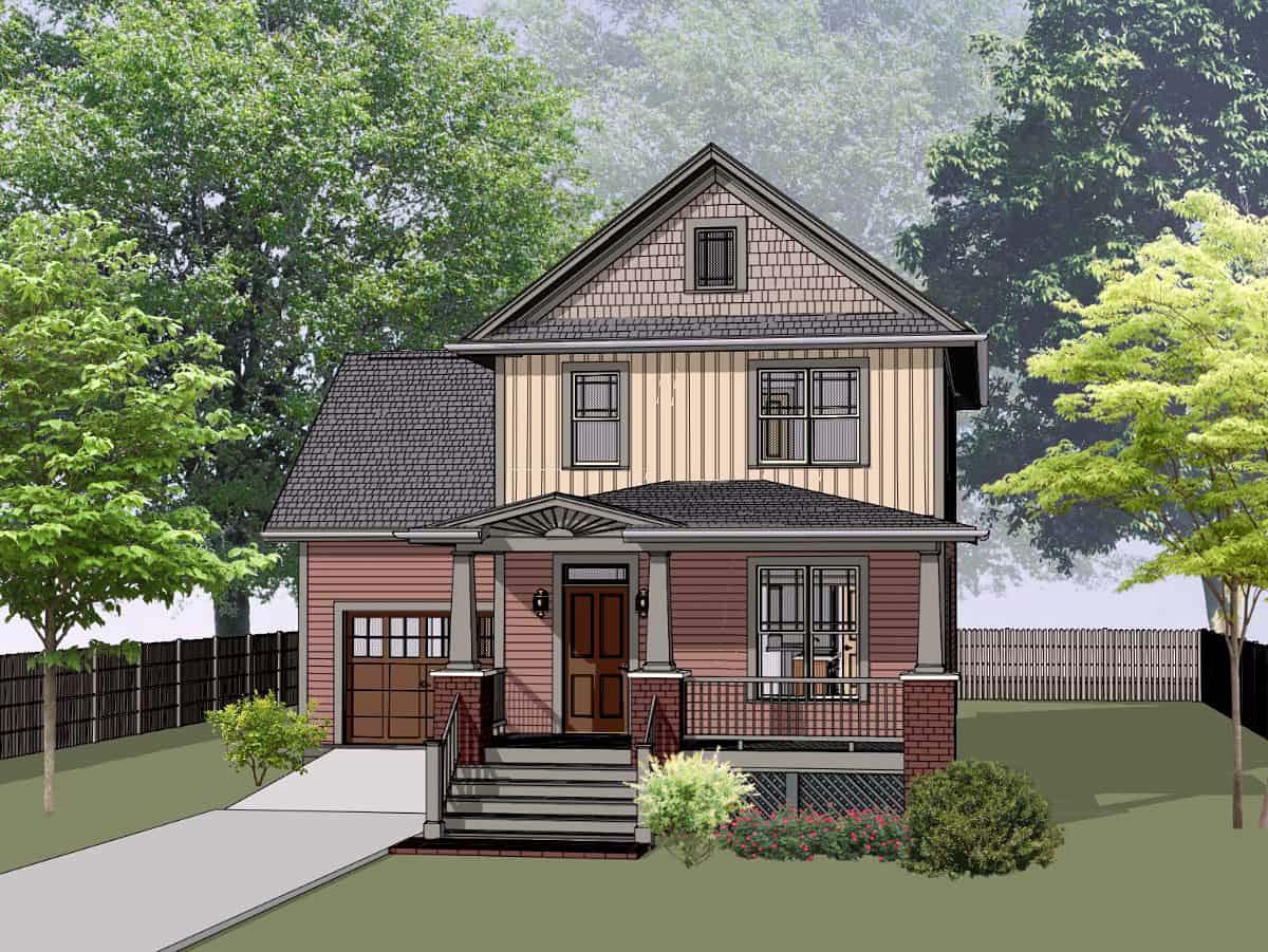 Bungalow, Craftsman House Plan 75544 with 3 Beds, 3 Baths, 1 Car Garage Elevation