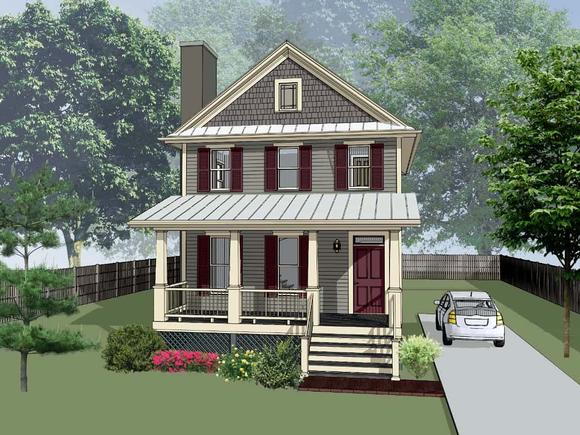 Colonial, Country House Plan 75553 with 3 Beds, 3 Baths Elevation