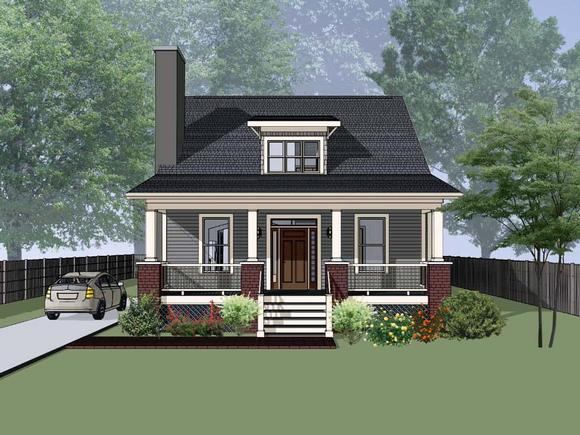 Bungalow, Cottage House Plan 75556 with 4 Beds, 2 Baths Elevation