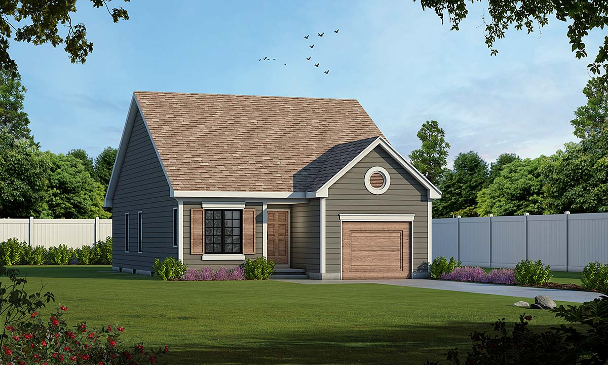 Traditional House Plan 75736 with 2 Beds, 2 Baths, 1 Car Garage Elevation