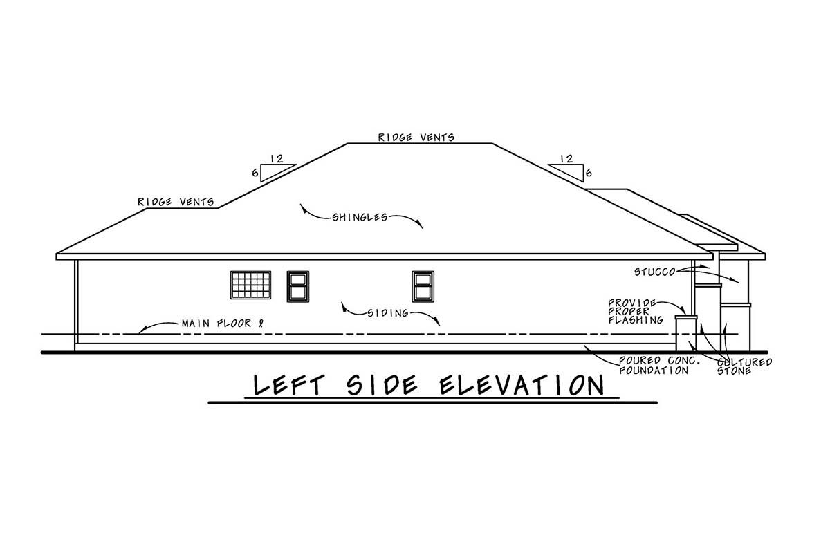 Mediterranean House Plan 75745 with 3 Beds, 2 Baths, 2 Car Garage Picture 2