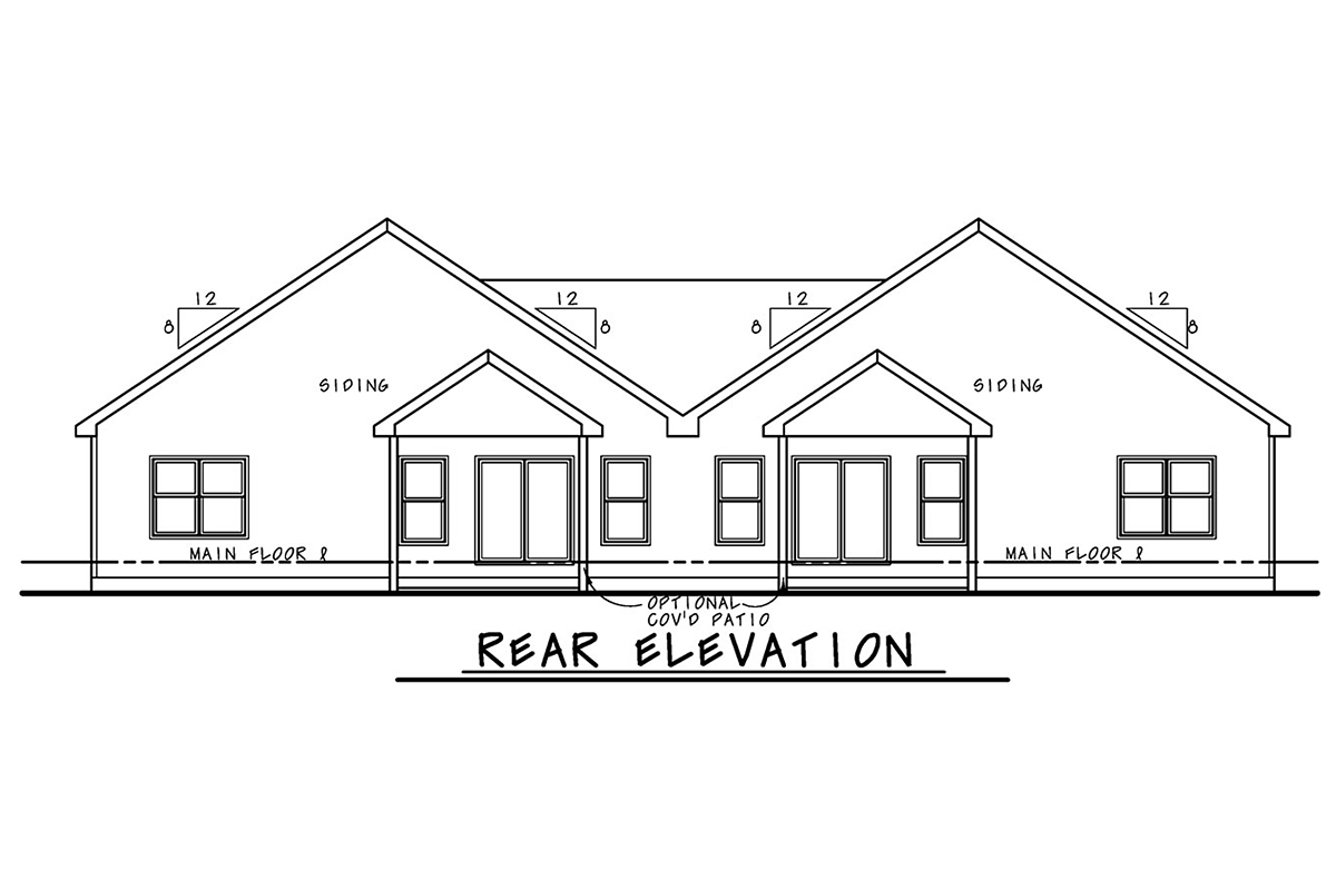 Farmhouse Multi-Family Plan 75747 with 2 Beds, 2 Baths, 2 Car Garage Rear Elevation