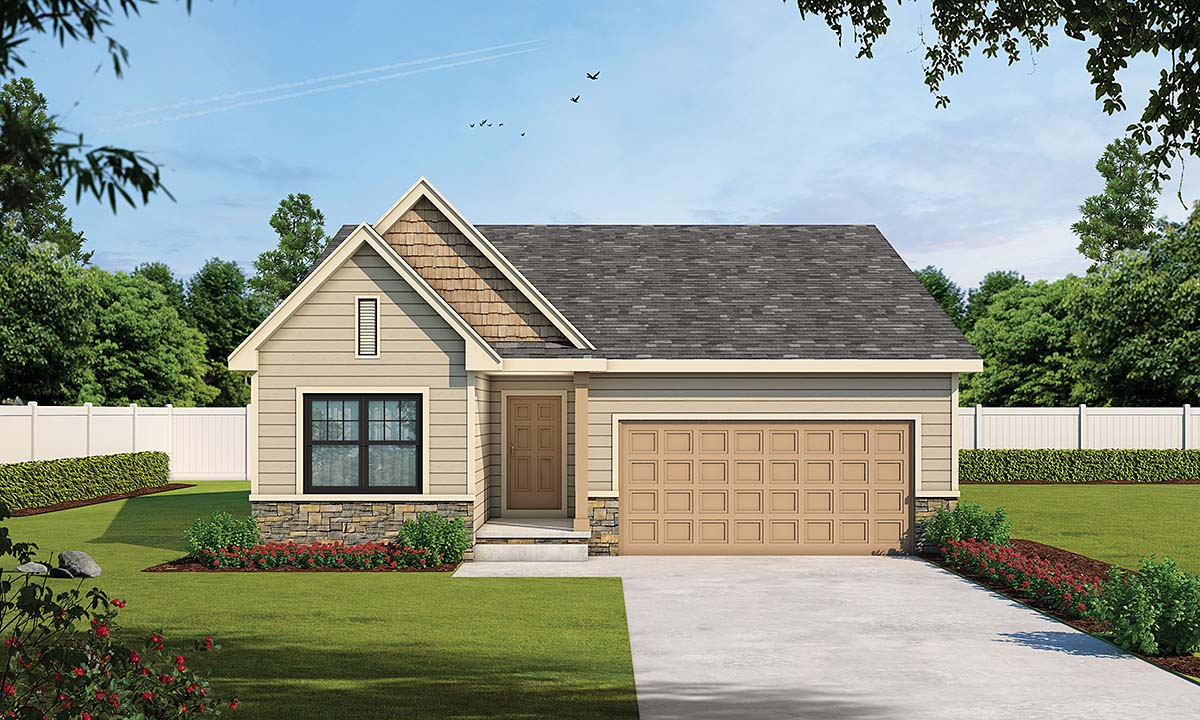Traditional House Plan 75748 with 2 Beds, 2 Baths Elevation