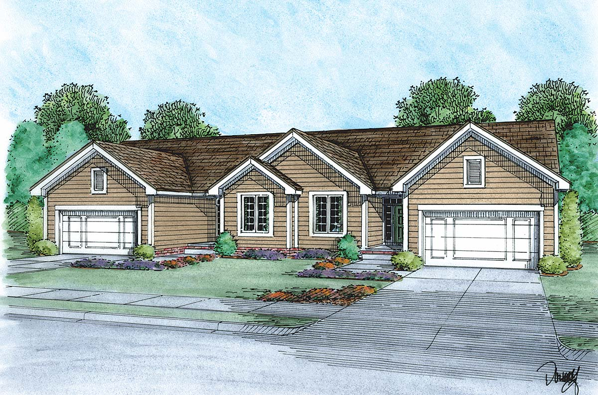 Traditional Multi-Family Plan 75749 with 2 Beds, 2 Baths, 2 Car Garage Elevation