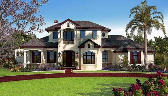 Florida, Mediterranean House Plan 75938 with 5 Beds, 6 Baths, 3 Car Garage Elevation