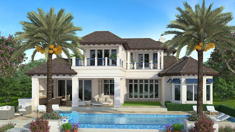 Florida, Mediterranean House Plan 75956 with 5 Beds, 7 Baths, 3 Car Garage Rear Elevation