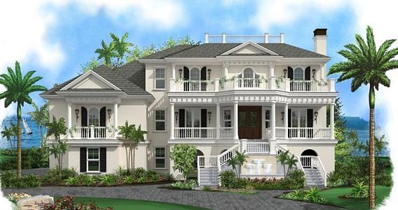 Coastal Colonial Plantation Southern House Plan 75957 Elevation