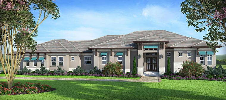 Coastal, Florida, Mediterranean House Plan 75964 with 3 Beds, 4 Baths, 3 Car Garage Elevation