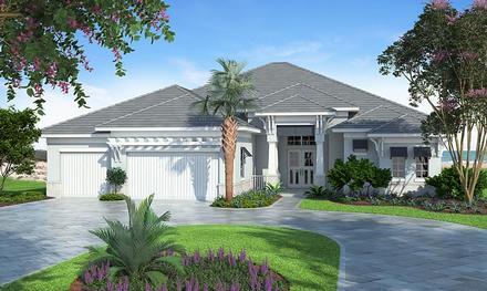 Coastal, Florida, Mediterranean House Plan 75965 with 4 Beds, 4 Baths, 3 Car Garage