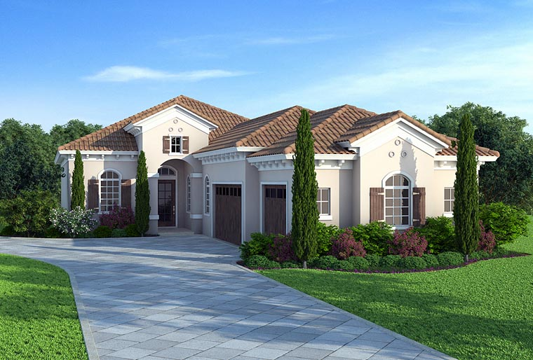 Florida Mediterranean Southern House Plan 75974 Elevation