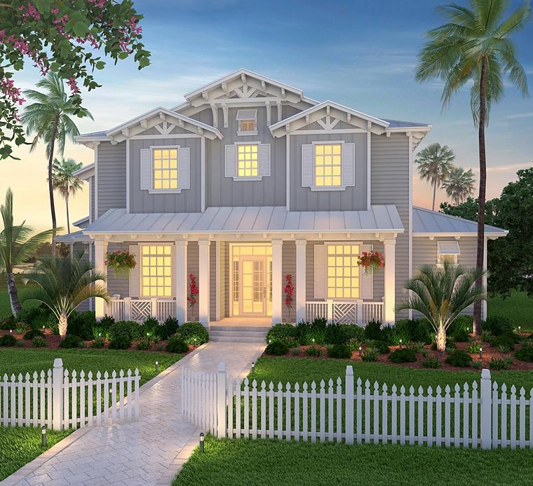 Coastal Country Craftsman Florida House Plan 75978 Elevation