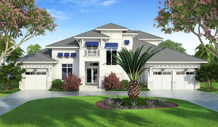 Coastal Florida Mediterranean House Plan 75979 Elevation