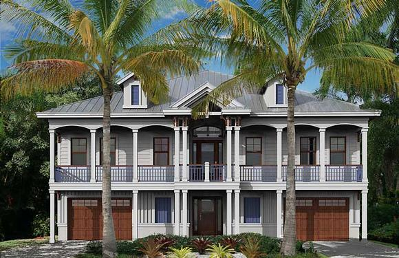 Coastal, Colonial, Florida, Southern House Plan 75988 with 2 Beds, 3 Baths, 3 Car Garage Elevation
