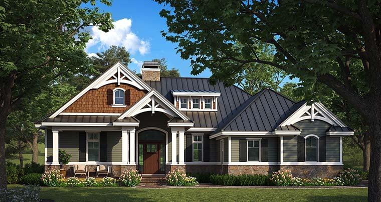 Cottage, Craftsman, Florida, Southern House Plan 75990 with 2 Beds, 2 Baths, 2 Car Garage Elevation